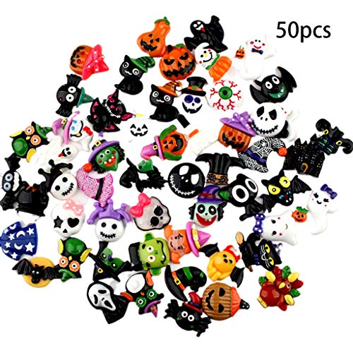 Diy Halloween Hair Clips (50Pcs Halloween Craft Resin Miniature Ornaments Flatback Hair Clip DIY Embellishment Witch Ghost Pumpkin Spider Decor Accessory with Mixed)