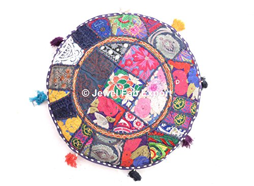 (Jewel Fab Art Indian Patch Work Ottoman Round Floor Pouf Decirative Euro sham Outdoor Floor Pouf Assorted Patchwork Embroidered Round Euro Sham Outdoor Floor Pillow Pouf Cover)