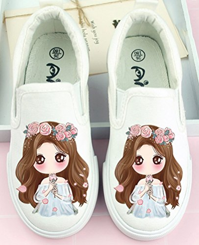 VECJUNIA Girl's Cute Elastic Antiskid Durable Slip-On Canvas Flats Shoes With Cartoon Print (White3, 10.5 M US Little Kid) by VECJUNIA (Image #1)