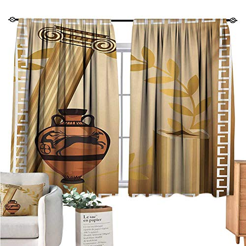 (Warm Family Toga Party Blackout Curtain Antique Greek Columns Vase Olive Branch Hellenic Heritage Icons Pale Brown Cinnamon White Drapes Panels W55 x)