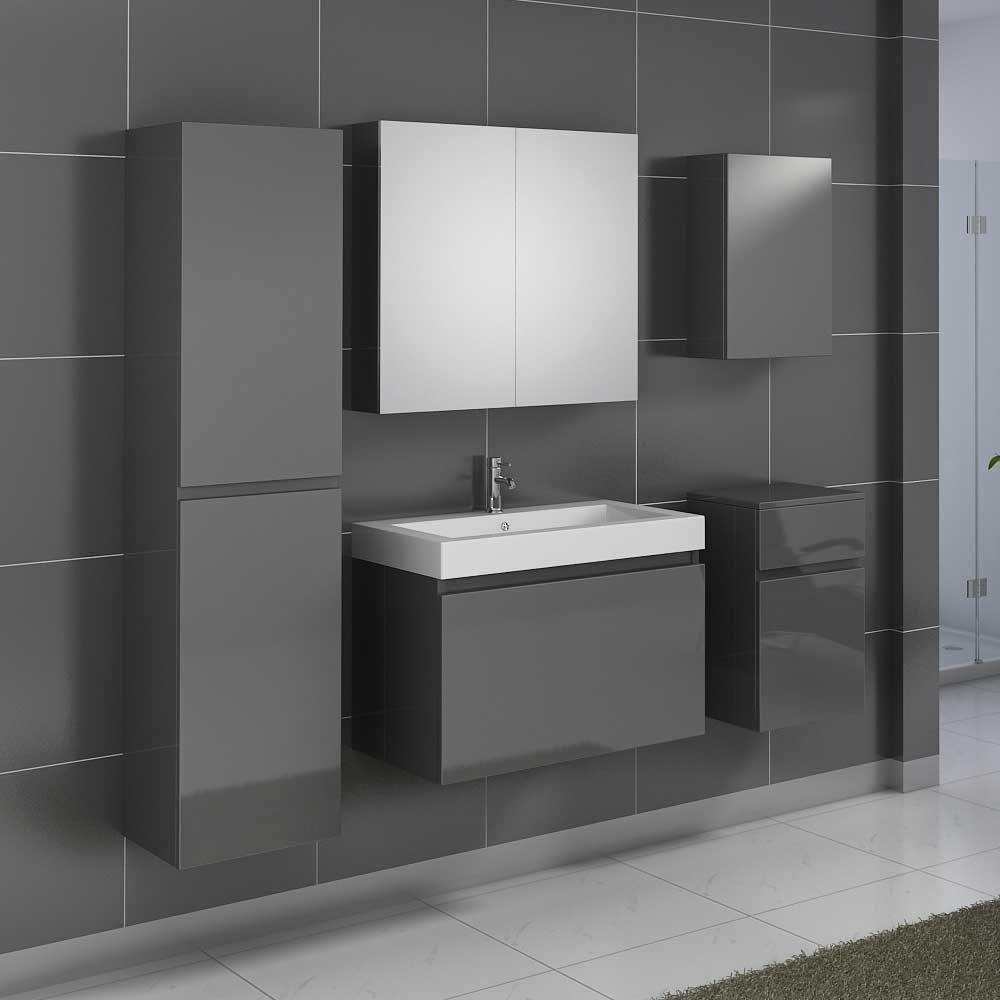 Badezimmermöbel Set in Grau Hochglanz mit Waschtisch (5-teilig ...