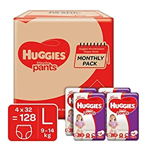 Huggies Wonder Pants, Monthly Box Pack Diapers, Large Size, 128 Count