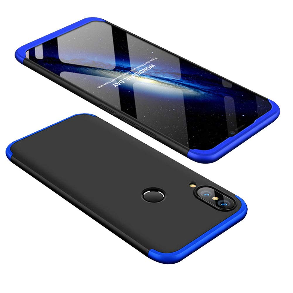 Aearl Huawei P20 Pro Case,3 in 1 Hybrid Full Body 360 Degree Protection Ultra Thin Slim Matte Finish Hard Plastic Shockproof Protective Back Cover for Huawei P20 Pro with Screen Protecor-Blue&Black