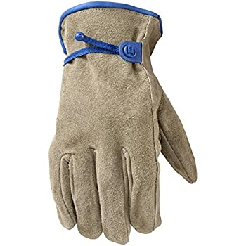 Wells Lamont Leather Work Gloves, HydraHyde, Suede Cowhide, Large (1014L)