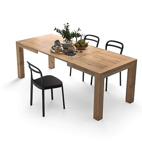 Mobili Fiver, Mesa de Cocina Extensible, Modelo Iacopo, Color Madera Rustica, 140 x 90 x 77 cm