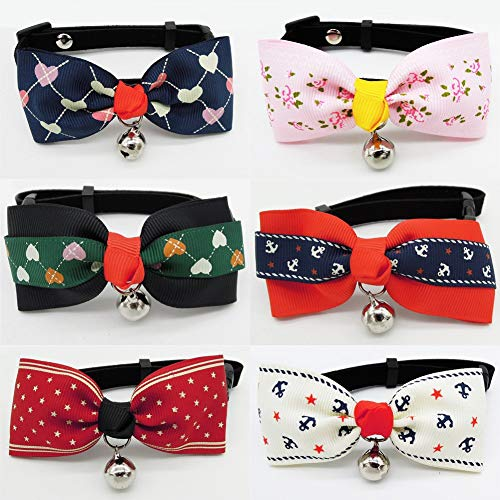 PetFavorites Designer Fancy Pattern Dog Cat Pet Bow Tie Collar with Bell and Buckle for Small Dogs Cats Wedding Holiday Costume Accessories, Adjustable Size 7.1 to 11.8-Inch, 6 Pack.