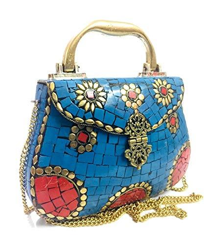 gauri Monedero azul celeste Embrague étnico bolso de metal ...