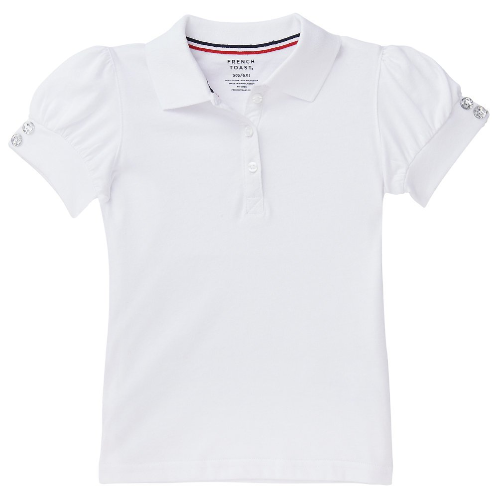 French Toast Little Girls Puff Sleeve Polo Shirt, White, Small/6/6x