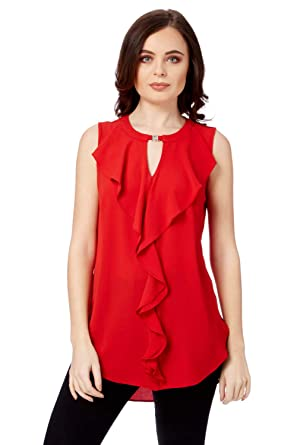 5dbdf2235d458e Roman Originals Womens Waterfall Ruffle Front Top - Ladies Cocktail Party  Sleeveless Going Out Flattering Fashionable Frilled Tops  Amazon.co.uk   Clothing