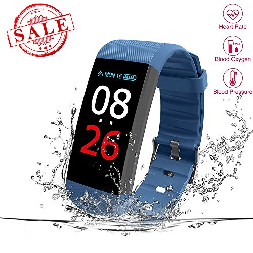 Fitness Tracker, Heart Rate Monitor, IP67 Waterproof Smart Bracelet with Camera Remote Shoot, Activity Fitness Wristband R11 Pedometer for Bluetooth Android and iOS (R11-Blue)