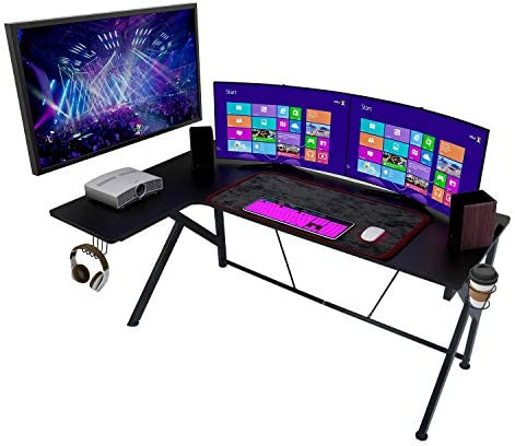 Large Home Office L-Shaped Black Gaming Computer Desk 61""