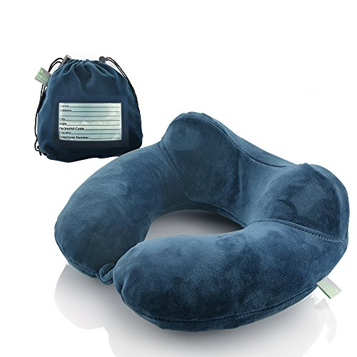 Inflatable Travel Neck Pillow: Extra-Soft, Cushion. For Airplanes, Trains, Cars, Portable Travel Accessory-With Carrying Pouch For cell phone and Passport Etc. (Blue) by outdoorwares hut