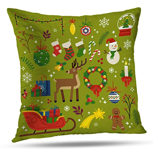 Hdmly Wreath Decorative Pillow Covers Cushion Covers, Christmas Quality Flat Decorative Santa Sleigh Gifts18 x18 Throw Pillow Covers Cotton Pillow Case for Home Decor Car Sofa Couch Bed