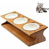 Petacc Gamelle en Céramique pour Chat Triple Gamelle Amovible avec Support en Bambou Solide Bonne Contenance Pratique et Saine pour Pet Feeder