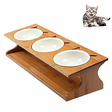 Petacc Plato de Cerámica para Mascotas Ecológico Plato para Mascota Práctico Alimentador de Gato con 3 Cuencos para Mascotas y 1 Titular de Madera: ...