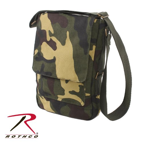 Go Commando Camo - Rothco Vintage Canvas Military Tech Bag - Woodland Camo
