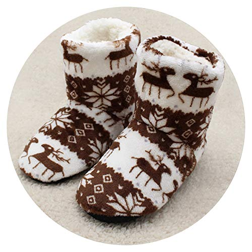 2018 Winter Shoes Woman Home Slippers Girls Christmas Indoor Shoes Warm Contton Slipper Plush Pantufa Soft 6 Colors,Chocolate,7