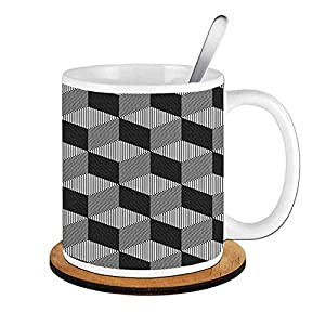 Cube Composition with 3D Optical Illusion,Black and White;Ceramic Cup with Spoon & Round wooden coaster Milk Coffee Tea Mug 11oz gifts for family