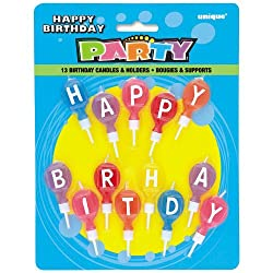 Happy Birthday Candle Set and Holders, 13ct
