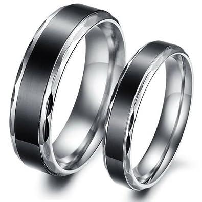 ILOVE EU Conjunto de 2 anillos de acero inoxidable, de plata, alianzas para boda