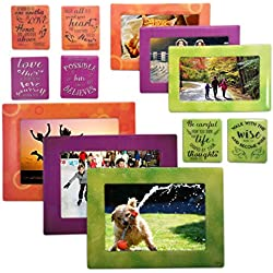 12 Piece Magnetic Picture Frame and Refrigerator Magnets Photo Album Collage Note Holders for Fridge Locker by Sheen For Standard Sizes 5x7 4x6 3x5 3.5x5 2.5x3 Wallet - Use at Home or Gift Loved One