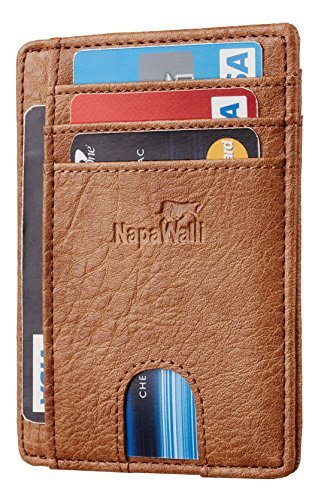 Front Pocket Leather - NapaWalli RFID Blocking Minimalist Genuine Leather Slim Front Pocket Wallet U (Vintage F590 Khaki)
