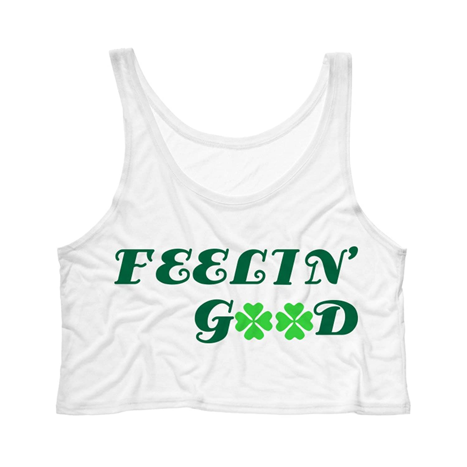 TeesAndTankYou Women's Feelin' Good St Patrick's Day Crop Tank Top