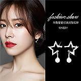 new women girls elegant earrings elegant simple pearl necklace pendant earrings inlaid micro-chipping pentagram earrings