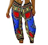 neveraway-women clothes Womens Folk Style Africa Casual Baggy Mulit Color Bechwear Palazzo Beach Pants Blue L