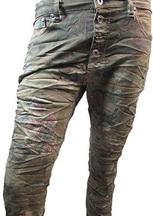 32580448 Place de Jour Boyfriend Baggy Jeans Camouflage Military Flowers Open Button  Facing - Green Beige Khaki, L / 40: Amazon.co.uk: Clothing