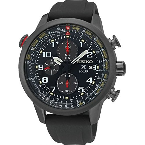 Seiko Solar Chronograph Black Ion Flight Silcone Black Dial Men's Watch SSC371 Black Ion Chronograph Watch