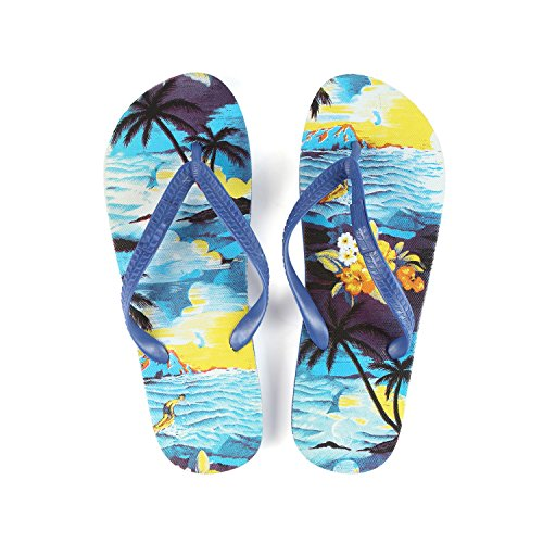 Hawaiian Print Sunset Beach Palm Hibiscus Wave Women Flip Flops Sandals in Blue Sunset Size 7 from Hawaii Hangover