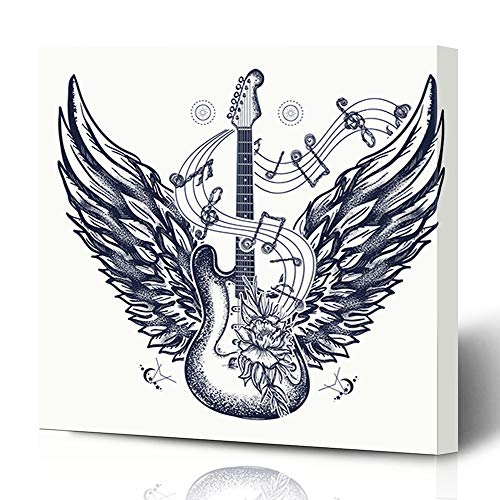 Ahawoso Canvas Prints Wall Art 12x12 Inches Tattoo Rock Electric Guitar Roses Angel Wings Music Punk Acoustic Adventure Boho Cool Hippie Decor for Living Room Office Bedroom