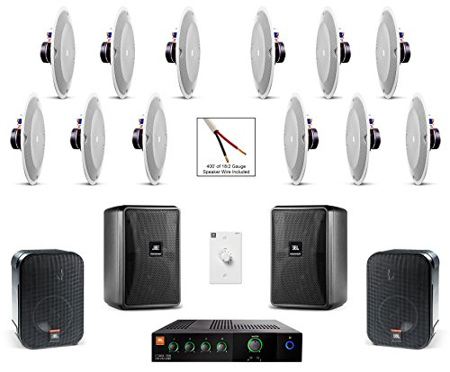 JBL 8138 In-Ceiling Loudspeaker Bundle with JBL CSMA 180 Mixer Amplifier and Accessories - Restaurant Sound System (43 Items) by JBL Professional