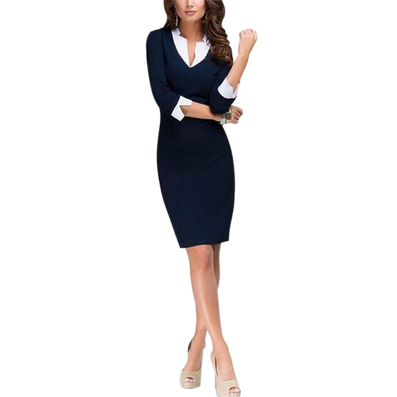 East Castle Women's Elegant Slim Fit V-Neck Bodycon Pencil Dresses W-170