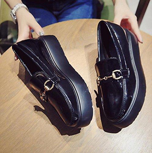 Zapatos coreana KPHY Mujer six versión Thirty de Cake la pequeño grosor pintura único nueva Thirty autumn zapatos de estudiante de salvaje esponja four Zapatos piel mujeres Piel Zapatos n1Axn4v