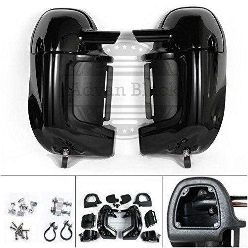 Same Day Shipment! Moto Onfire Advanblack Vivid/Glossy Black Pre-Rushmore Lower Vented Leg Fairing Kits Glove Box For Harley Touring Road Street Electra Glide Road King FLHR 1983-2016 (Fedex Refund Policy)
