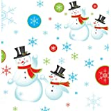 "Party Essentials VM54108 ValuMost Rectangular Plastic Tablecover, 108"" Length x 54"" Width, Snowman Print (Case of 24)"