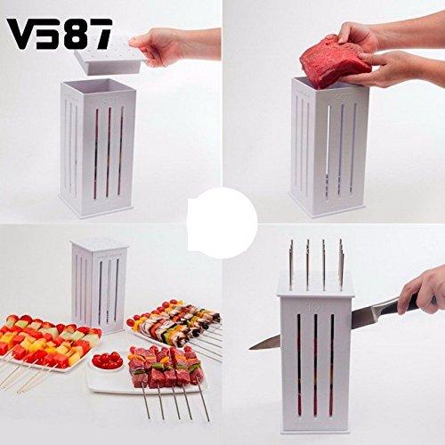 BBQ Kabob Maker Kabob Maker 16 Holes Meat Skewer Kebab Maker Box Machine Beef Meat Maker with 32 Bamboo Skewers Hi2deals 19.35