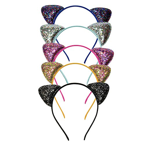 Glittery Cat Ears Headband Pack of Five (5) in Multiple Colors for Girls and Women -