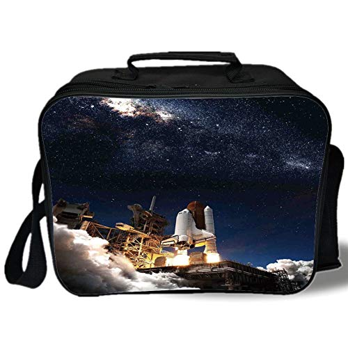 Insulated Lunch Bag,Galaxy,Shuttle on Take off Discovery Mission to Explore Galaxy Spaceship Solar Adventure,Blue White,for Work/School/Picnic, Grey -