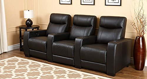 Grand modern 3 piece dark black top grain leather power media room theater seating recliners Home theater furniture amazon