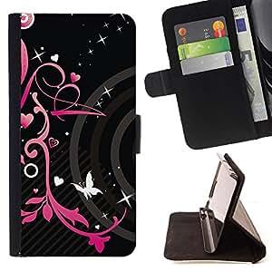 HEARTS SPRING BUTTERFLY PINK BLACK FLORAL/ Personalizada del estilo del dise???¡Ào de la PU Caso de encargo del cuero del tir????n del soporte d - Cao - For HTC DESIRE 816