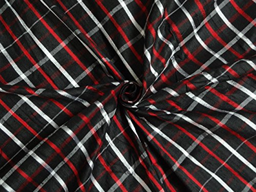 BLACK,RED & WHITE COLOR PURE SILK DUPIONI PLAIDS FABRIC 44
