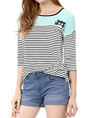 Allegra K Women's Crew Neck Color Block Shirt Paneled Piped Cat Prints Striped Tee Top