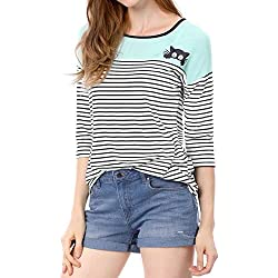 Allegra K Women's Color Block Paneled Piped Cat Prints Striped Tee L Blue