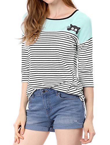 Allegra K Women's Color Block Paneled Piped Cat Prints Striped Tee S ()