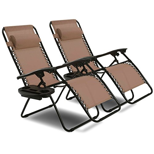 Cheap Goplus Zero Gravity Chair Set 2 Pack Adjustable Folding Lounge Recliners for Patio Outdoor Yard Beach Pool w/Cup Holder, 300-lb Weight Capacity (Brown)