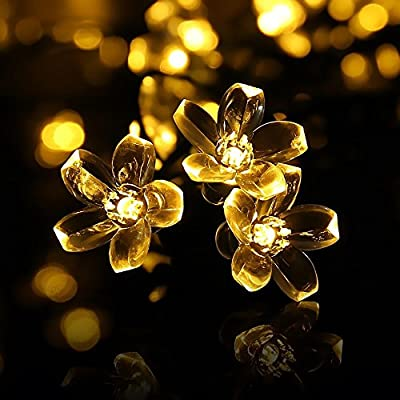 JIAEN 23ft 50 LEDs Outdoor Solar Fairy String Lights,Waterproof Peach Flower Lights,Many Colors Blossom Lighting for Home Decoration like Garden,Patio,Wedding,Party,Christmas,Fence,Holiday