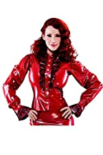 Bordelle-L'Amour Siren Latex Rubber Shirt. Pearl Sheen Red with Pearl Sheen Red Trim.